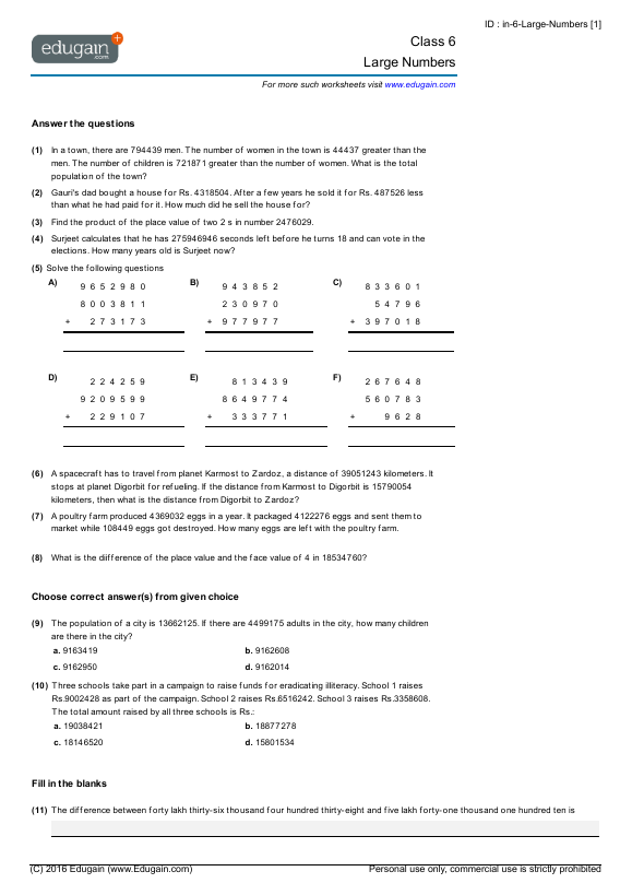 grade 6 math worksheets and problems large numbers edugain new zealand. Black Bedroom Furniture Sets. Home Design Ideas