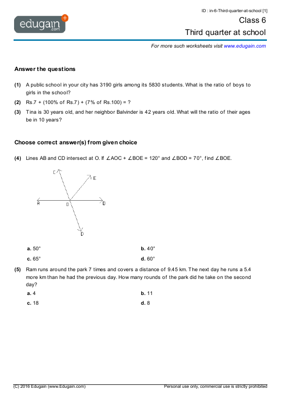 Grade 6 Math Worksheets and Problems Third quarter at school – Ratio Proportion Worksheets